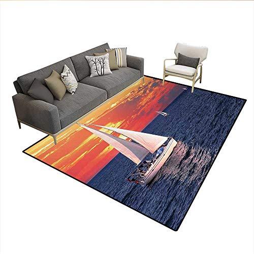 Rug,Sailboat Sailing on a Calm Evening Setting Sun Colored Sky Scenery,Area Carpet,Dark Blue Orange WhiteSize:6'6