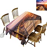 kangkaishi Landscape Easy to Care for Leakproof and Durable Long tablecloths Outdoor Picnic Sunset with Clouds in Cabo de Gata Nijar Natural Park Bridge Way with Fences W52 x L70 Inch Multicolor