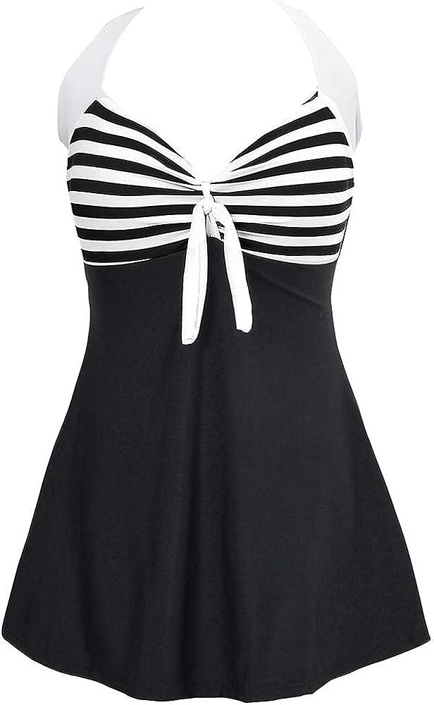 BOZEVON Costume Intero da Donna Halter Bikini Set Costumi da Bagno Un Pezzo con Gonna Integrato