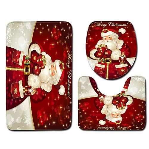 Bathroom Rug Mat - Bath Mat Carpet - Christmas Floor Entrance Carpet Floor Mats Rugs Kitchen Carpet Doormats, Toilet Seat Cover and Rug - 3pcs Thanksgiving Day Carpets Decor (I)