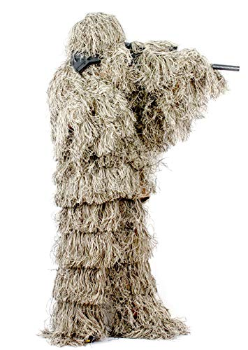 Auscamotek Ghillie Suit Hunting Gilly for Halloween Costume Airsoft Paintball - M/L Dry Grass -