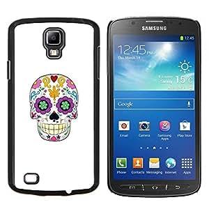 """Be-Star Único Patrón Plástico Duro Fundas Cover Cubre Hard Case Cover Para Samsung i9295 Galaxy S4 Active / i537 (NOT S4) ( Cráneo floral blanca minimalista Primavera"""" )"""