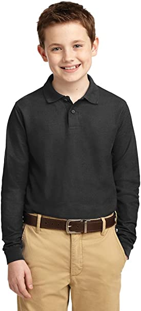 Port Authority Youth Pique Knit Polo-XS Black