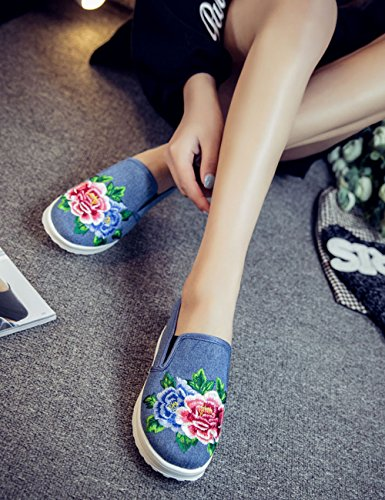 Fanwer Students Slip Up Canvas Chinese Embroideried Women Wedge Rubber Platform Flats Shoes Light Blue aJ2pe3RA
