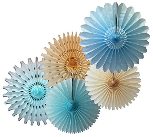 Tissue Paper Fan Collection - 5 Large Assorted Fans (Baby Blue - Light Blue, Ivory, 18 and 13 - Blue Art Light