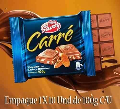 Amazon.com : Carre Autentico Chocolate Savoy Venezolano 1 Box, 10 Bars (Almonds) : Grocery & Gourmet Food