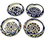 4 Piece Ornamental Ashtray Set - Handmade and Hand-painted Ceramic Crafted by Hebron Artisans - For Cigars, Cigarettes, or other Tobacco Products (5.9' x 5.9' x 2.1')