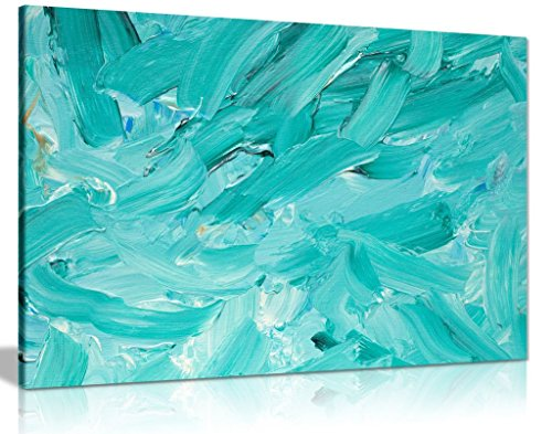 - Teal Acrylic Painting Reproduction Canvas Wall Art Picture Print (36x24in)