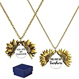 GROBRO7 2Pcs Sunflower Locket Necklace You are My Sunshine Necklace Golden Engraved Choker Memorial Necklace Valentine…