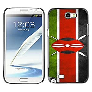 Paccase / SLIM PC / Aliminium Casa Carcasa Funda Case Cover - National Flag Nation Country Kenya - Samsung Note 2 N7100