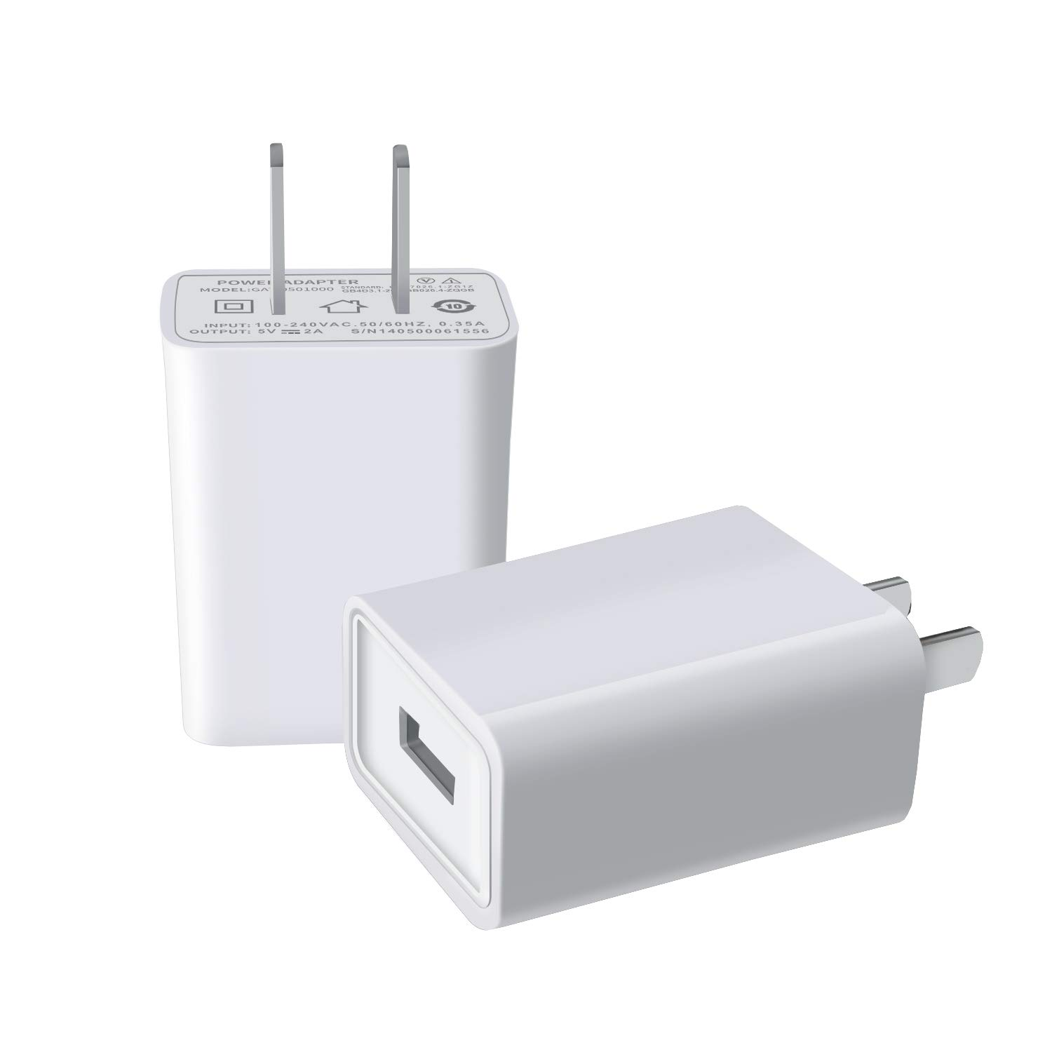 on sale d802f 87b31 USB Wall Charger,FOBSUNLAND USB Wall Plug 5V 2A AC Power Adapter Compatible  with iPhone,iPad,Samsung,Huawei,Tablet,Kindle and More (White 2pack)