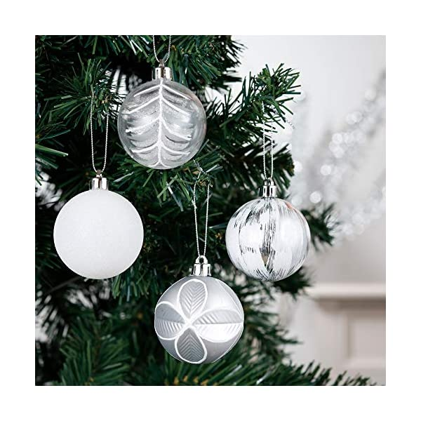 Valery Madelyn Palle di Natale 50 Pezzi di Palline di Natale, 3-5 cm congelato Inverno Argento e Bianco Infrangibile Ornamenti Palla di Natale Decorazione per la Decorazione Dell'Albero di Natale 5 spesavip