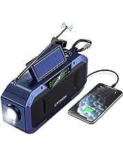 Hand Crank Emergency Solar Radio w/Bluetooth Speaker - 5000mAh Battery Powered AM FM Radio Portable, IPX5 Waterproof Radio w/Reading Lamp, LED Flashlight, SOS Alert, Cell Phone Charger Dynamo