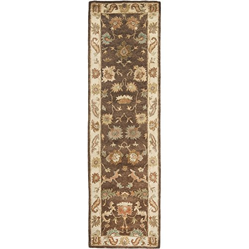 Bergama Runner Rug - Safavieh Bergama Collection BRG136B Handmade Brown and Ivory Premium Wool Runner (2'3