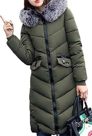 XQS Womens Long Down Coat Faux Fur Hood Warm Jackets Overcoat
