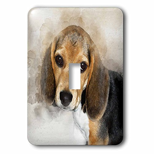 3dRose lsp_245328_1 Adorable Beagle Puppy Watercolor Toggle Switch