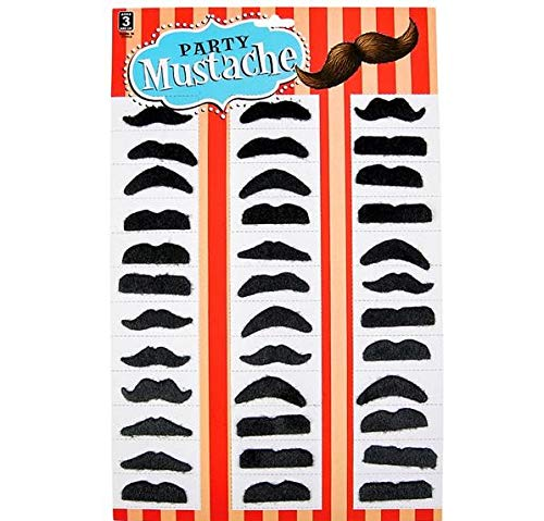 Rhode Island Novelty Mini Black Mustaches | 36 Pieces |