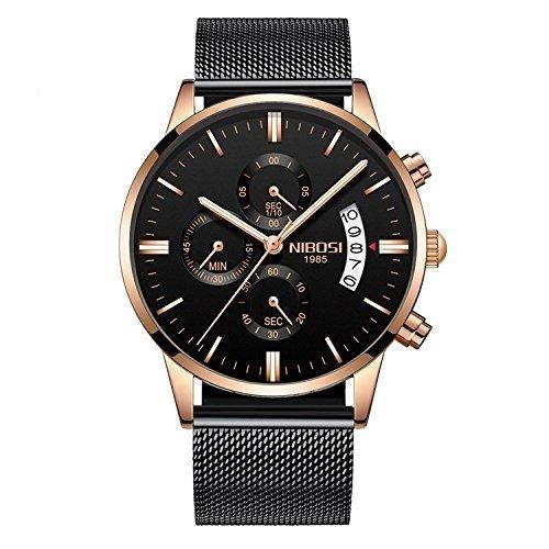 DATLANTAN-A9 Black Leather Swiss Quartz Watch Black Dial
