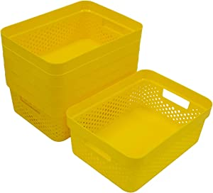 Glad Plastic Storage Basket Set, Bulk Pack of 6   Kitchen, Pantry, Closet, Bathroom Bins   Home Organization Containers for Shelves   Room Essentials, 2 Gallon, Yellow