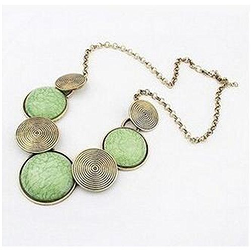 Elakaka Retro Exaggerated Metal Round Necklace(Green) (How To Make Superhero Costumes)