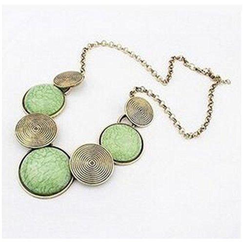 [Elakaka Retro Exaggerated Metal Round Necklace(Green)] (Diy Costumes With Black Corset)