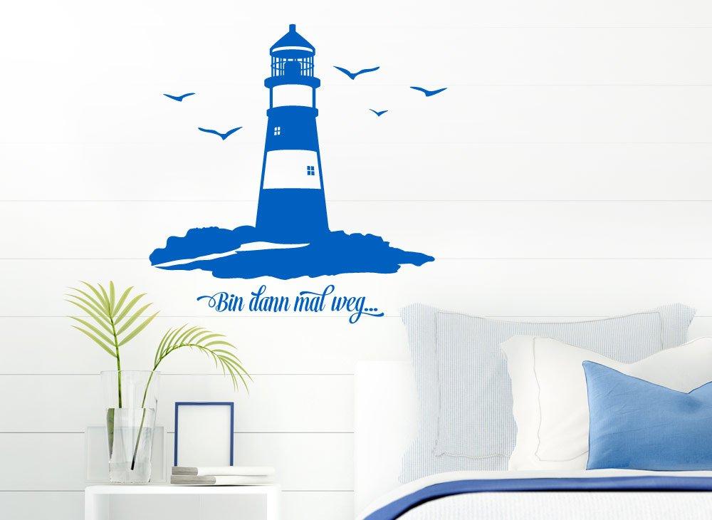 Grandora W5078 Wandtattoo Spruch Bin dann mal mal mal weg + Leuchtturm Wandaufkleber Wandsticker dunkelblau (BxH) 100 x 100 cm B014UZ526C Wandtattoos & Wandbilder 3ac701