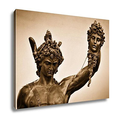 Ashley Canvas Ancient Style Sculpture of Perseus with The Head of Medusa in Loggia Dei Lanzi, Home Office, Ready to Hang, Sepia 20x25, AG5404288