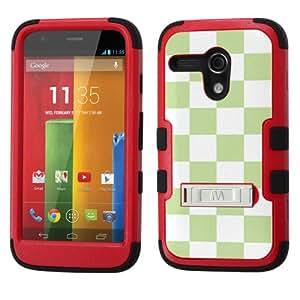 UNQUITI MOTOROLA MOTO G 4G LTE Case - TuMax Hybrid Cover(Red Black) - CHECKER (Pastel Apple Green/White)
