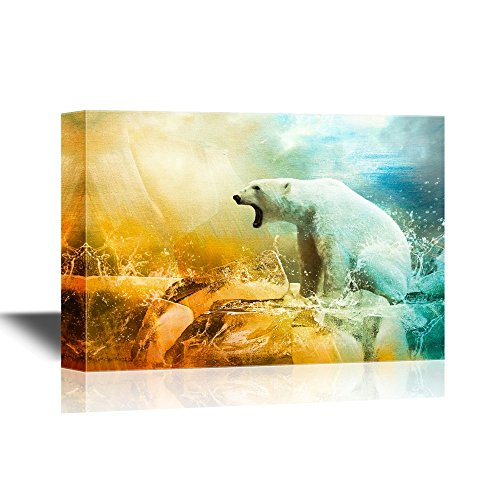 (wall26 - Wild Animal Canvas Wall Art - White Polar Bear Hunter on The Ice in Water Drops - Gallery Wrap Modern Home Decor | Ready to Hang - 32x48 inches)