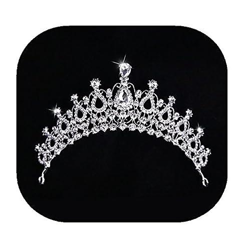 primerry (Happiness Moment) white pearl tiara rhinestones bridal headdress tiara crown - Moments Fig