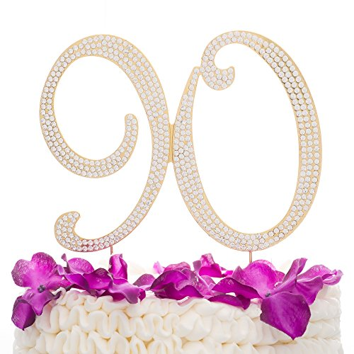 Ella Celebration 90 Cake Topper for 90th Birthday Rhinestone Number Party Supplies & Decoration Ideas (Gold)]()