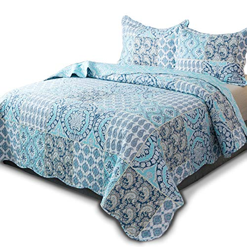 - KASENTEX Country-Chic Printed Pre-Washed Quilt Set - Microfiber Fabric Quilted Pattern Bedding (Multi-Blue B, Queen + 2 Shams)