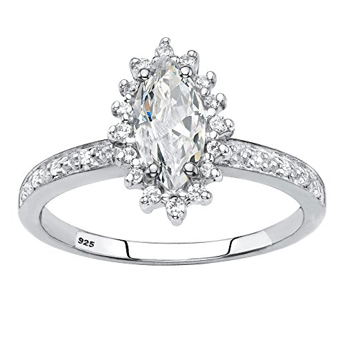 Platinum over Silver Marquise Cut Created White Sapphire and Diamond Accent Engagement Ring Size 9 by Palm Beach Jewelry