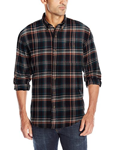 G.H. Bass & Co. Men's Long Sleeve Fireside Plaid Flannel Shirt, Dark Blue Salute, X-Large