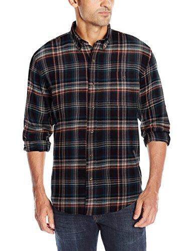 G.H. Bass & Co. Mens Long Sleeve Fireside Plaid Flannel Shirt, Dark Blue Salute, Small