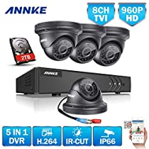 ANNKE 1080P Lite 8 Channels DVR Recorder 2TB Surveillance HDD and (4) 960P 1.3MP HD Outdoor CCTV Camera, Email Alert with Images, Mobile App: ANNKE View