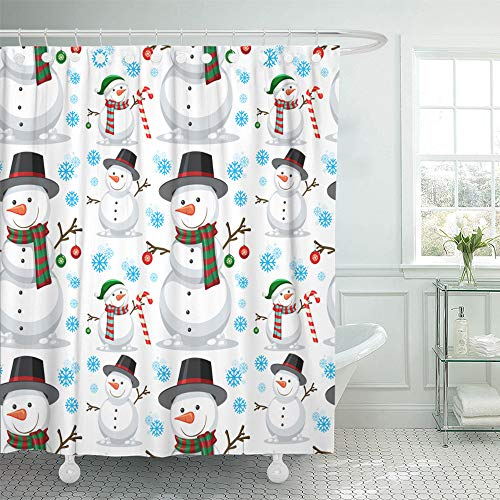 in Set Waterproof Adjustable Polyester Fabric Candy Christmas Snowman Cane Cartoon Celebration 66 x 72 Inches Set with Hooks for Bathroom ()