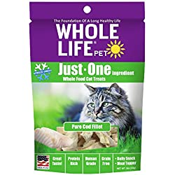 Whole Life Pet Just One-Single Ingredient Freeze Dried Treats For Cats Pure Cod Fillet, 0.8Oz
