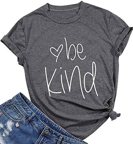 Qrupoad Be Kind Tees Women Kindness Graphic Tee Short Sleeve Christian T Shirts Dark - T-shirt Christian Inspirational Adult