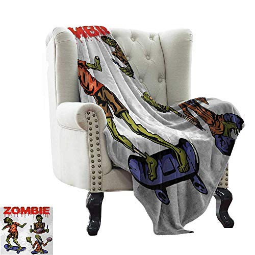 LsWOW White Throw Blanket Zombie,Dead Man Eating Brain Cannibal Meditating Skate Boarding Graphic Pattern,Olive Green Red Dust Warm Blanket for Autumn Winter 50