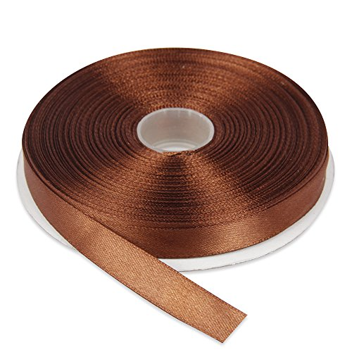 Topenca Supplies 1/2 Inches x 50 Yards Double Face Solid Satin Ribbon Roll, Brown