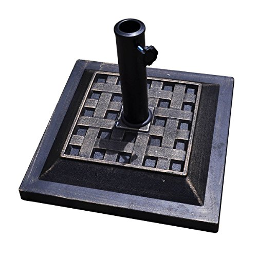 GoodGoods LLC Umbrella Base Stand Useful Heavy Duty Square Beautiful Decorative Pattern and Bronze Finish Market Patio Standing Outdoor Living