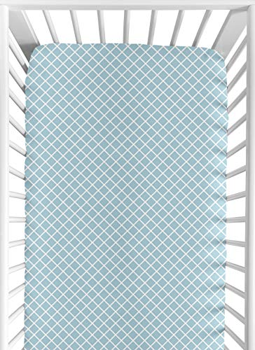 Sweet Jojo Designs Fitted Crib Sheet for Woodland Toile Baby/Toddler Girl or Boy Bedding Set Collection - Blue Lattice Print
