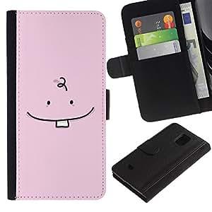 LASTONE PHONE CASE / Lujo Billetera de Cuero Caso del tirón Titular de la tarjeta Flip Carcasa Funda para Samsung Galaxy S5 Mini, SM-G800, NOT S5 REGULAR! / Tooth Baby Minimalist Drawing Pink Cute