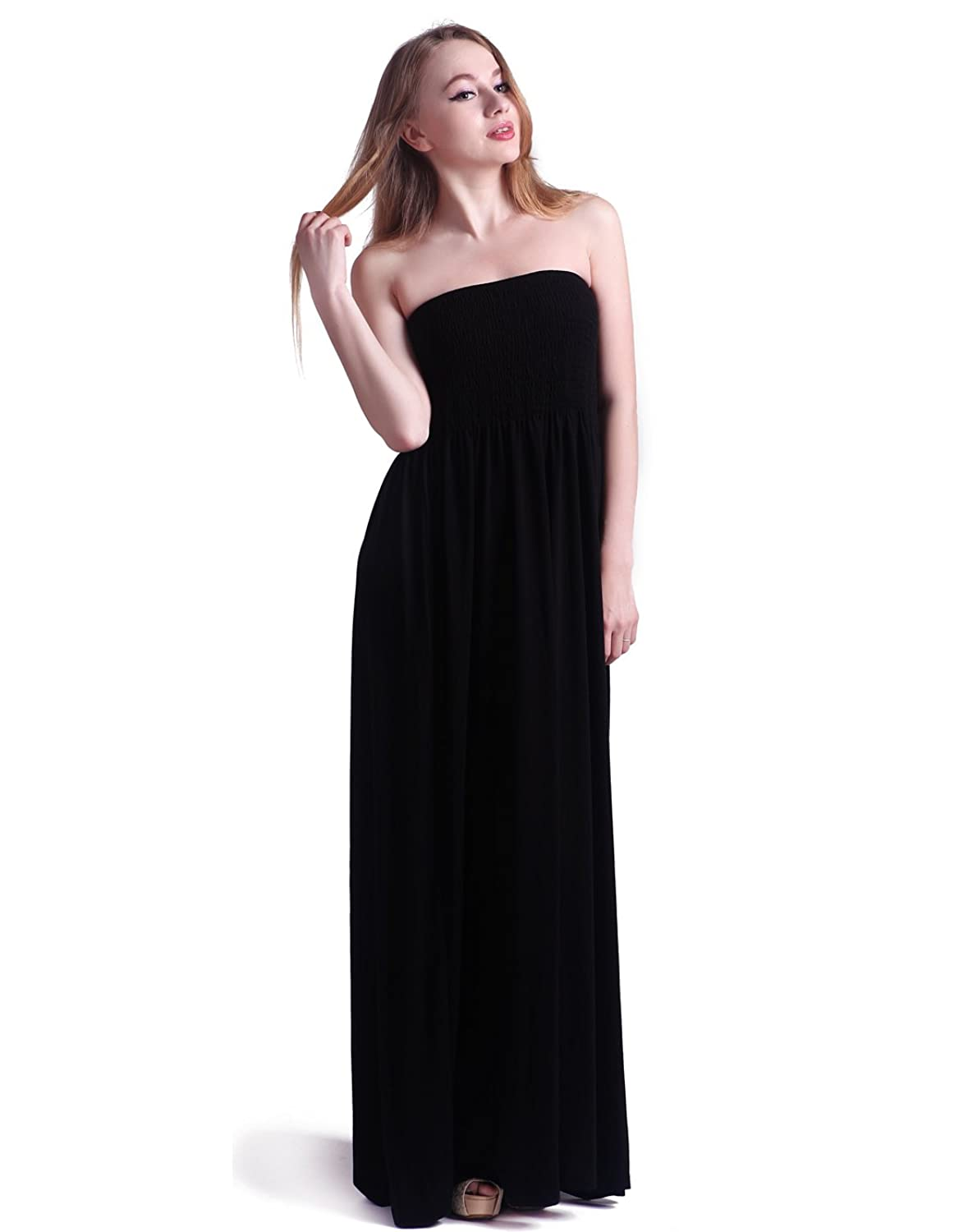 HDE Women's Strapless Maxi Dress Plus Size Tube Top Long Skirt ...