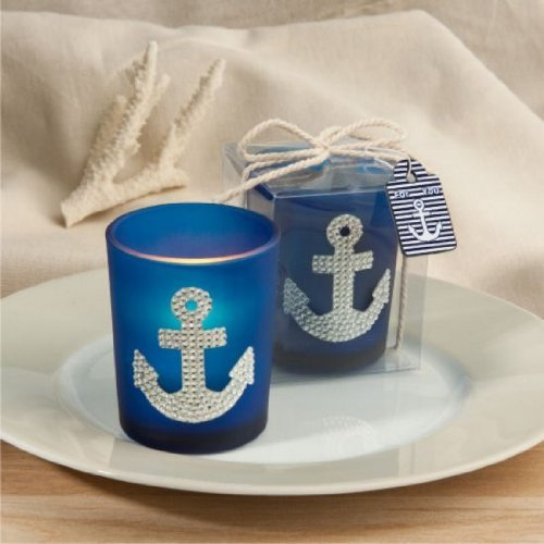 Spectacular Anchor Design Candle Favors , (Nautical Baby Shower Favors)