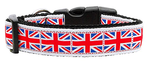 Mirage Pet Products Tiled Union Jack UK Flag Nylon Ribbon Collar for Pets, Large