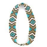 WigsPedia Native American Pattern Handmade Elastic Stretch Seed Bead Hair Accessories (Turquoise White Bronze Diamonds)
