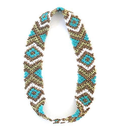 Seed Triangle Bead - WigsPedia Native American Pattern Handmade Elastic Stretch Seed Bead Hair Accessories (Turquoise White Bronze Diamonds)