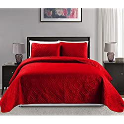 "MK Home Mk Collection King/California king over size 118""x106"" 3 pc Diamond Bedspread Bed-cover Embossed solid Red New"